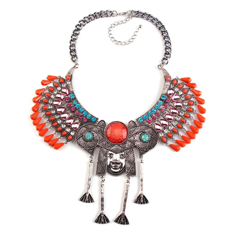 New Arrival statement jewelry indian tribe Chief shape chunky beads metal necklace 42603
