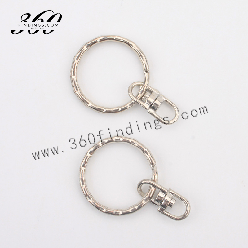 Wholesale Lot 25mm Flat Split Key Ring with Swivel Chain For DIY Customize