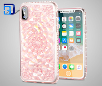 Cheap price precision hole design soft tpu case shine crystal diamond sun flower mobile phone case for Iphone X