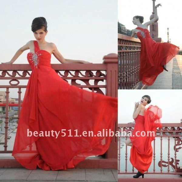 Astergarden Real Photo One Shoulder Beading Chiffon Red Brides Evening Dress AS137
