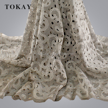 New Coming Nigerian High Quality White Tulle Lace Fabric With Stones For Wedding Dress Lace