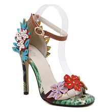 2017 latest beautiful colorful fancy women ladies girls party wear stilettos shoes flower flora high heel sandals