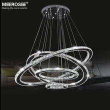MEEROSEE Factory Price LED Crystal Light Diamond Ring LED Pendant Light 3 Circles LED Lighting MD8825