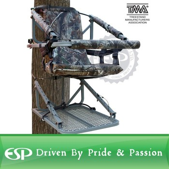 Aluminum Climbing Hunting Tree Stand with Safety Vest Harness, 250lb Capacity