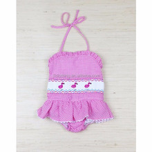 (SM113#pink)2-6Y flamingos smocked pink gingham seersucker bathing suit for children clothing