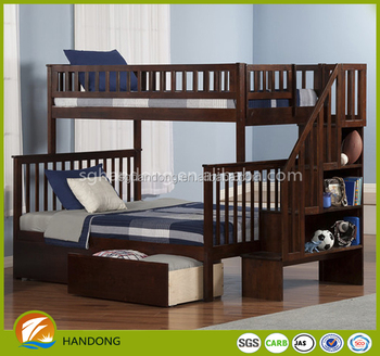Modern dark wood storage twin and full bunk bed with stair shelf