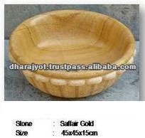 Round Carved Saffair Gold Marble Stone Basin