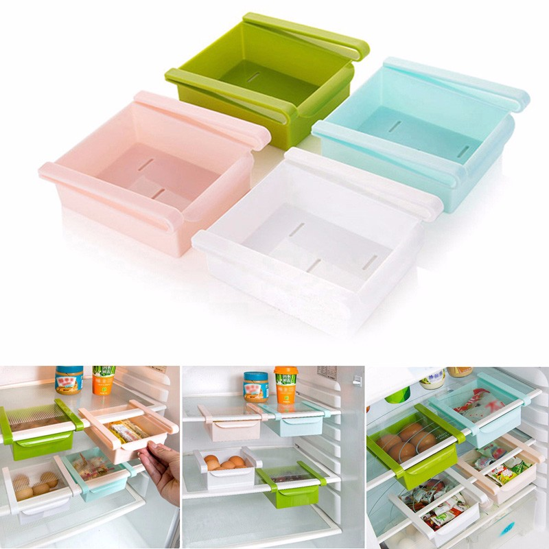 Mini Fridge Freezer Space Saver Plastic Slide Kitchen Organization Storage Rack Bathroom Shelf