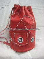 Authentic Red Color Moroccan Handmade Leather Pouch Rucksack