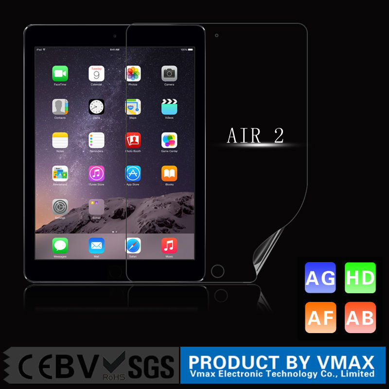 Factory supply 99% High Clear screen protector for iPad Air 2