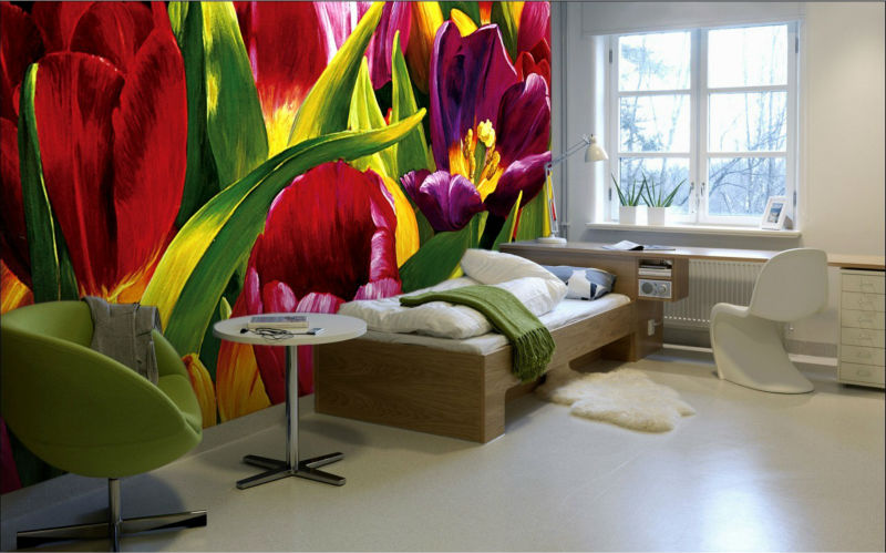 vivid Tulip red flower oil painting wallpaper/wall mural decorative bed room