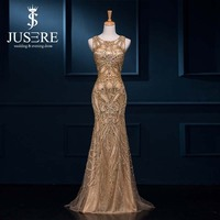 Luxury Scoop Neck Sleeveless Golden Long Mermaid Heavy Beaded Evening Dress Zuhair Murad Evening Dresses From Dubai