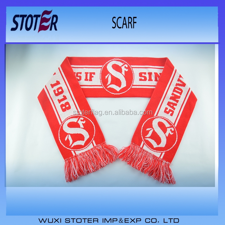 100% acrylic jacquard knitting sports team Football Fan Scarf
