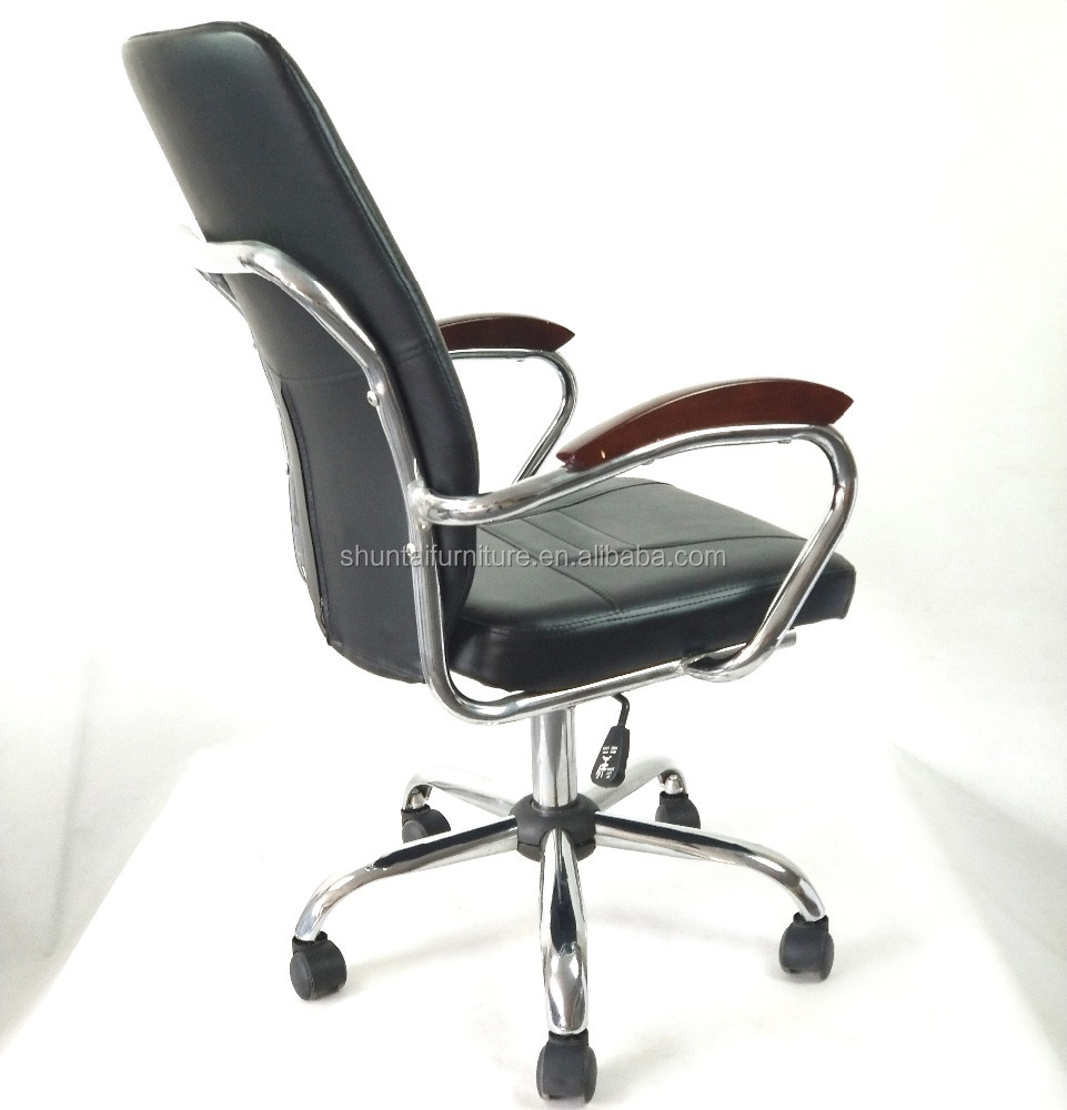 new model middle back office chair/computer chair/swivel chair with wood armrest