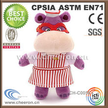 Adorable animated cartoon character hippo wearing red glasses
