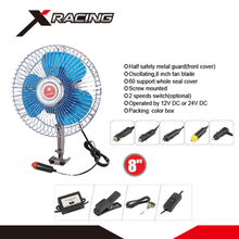 X-racing NMCF822 DC 12V/24V Cooling Fan Oscillating Portable Auto Car Fan 8 Inch Mini Car Roof Air Fan With Switch