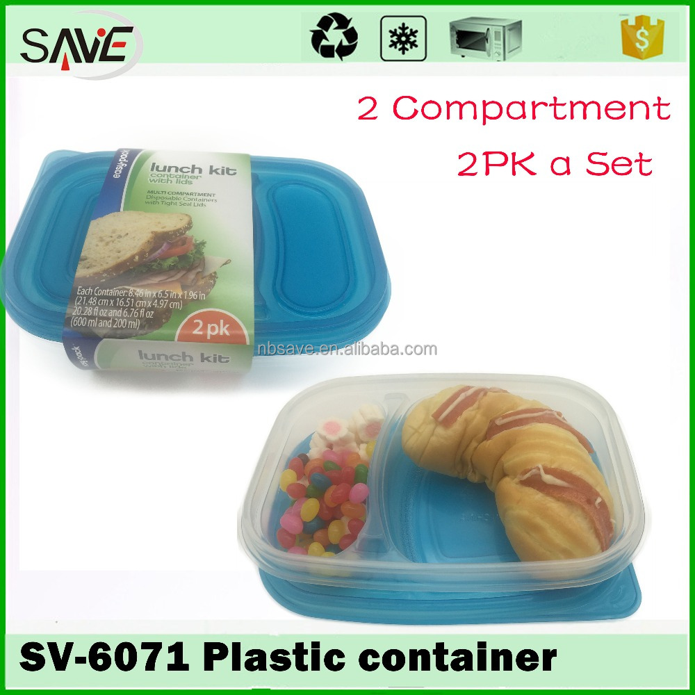 With 10 years manufacturer experience factory supply 2 compartment microwave disposable plastic take away food containers