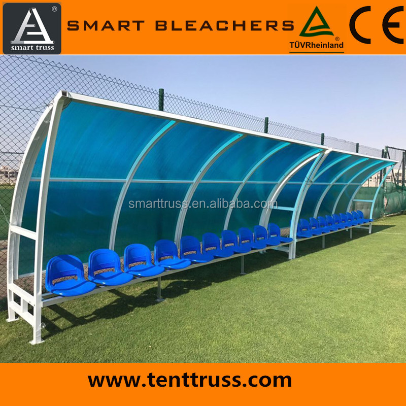 Mobile sports seating bench / soccer player team Bench with shade for stadium