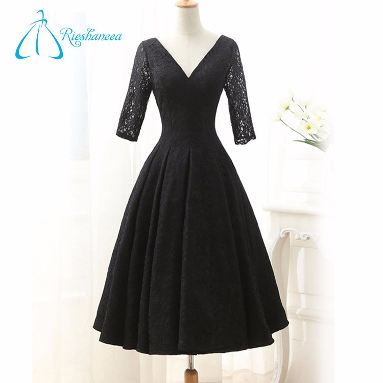 Lace Tea-Length Ball Gowns Black Prom Dress