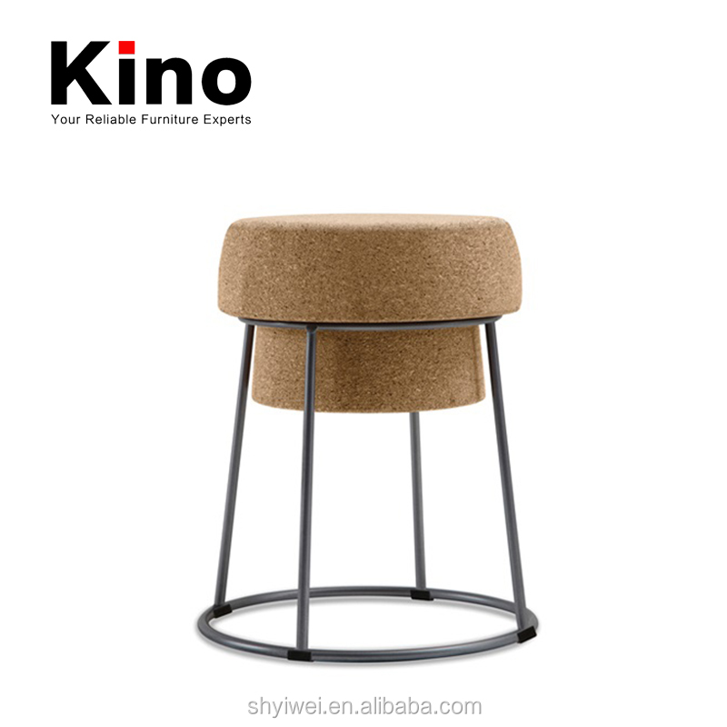 Modern Simple Fashion Design Stool Metal Tube Frame Cork Stool Cork Ottoman