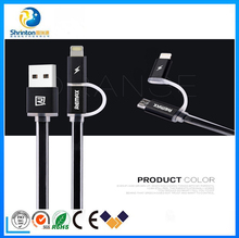 REMAX 2 in 1 colorful TEP material USB data cable for both Apple and Android