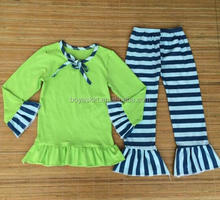 green top with ruffled pants wholesale children outfits stripe kids garment spanish baby clothing