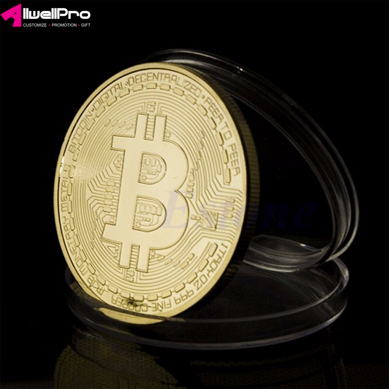 Gold Plated Bitcoin Metal Antique Coin Collectible Gift Physical Imitation Home Decoration