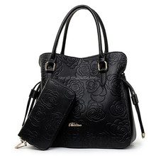 two pieces one set, flower embossed ladies shoulder bag