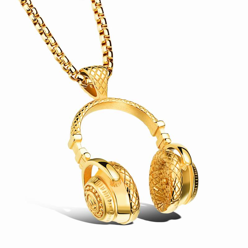 Wholesale Hip Hop Silver/Gold Plated Titanium steel Headset Necklace for Men & Women Headphones Pendant Necklace Christmas Gifts
