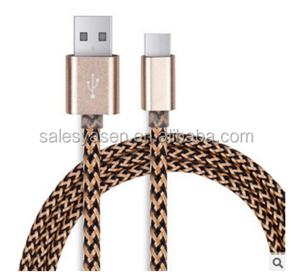 1M usb 3.1 type c cable 2.1A fast Charging cable Braided type USB C cables for Android