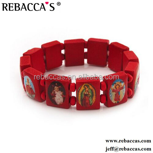 Rebaccas bracelet wood bracelet with religious pictures