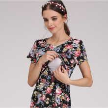 Floral Maternity Evening Dress Breastfeeding Dress for Pregnant Women