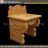 Natural Yellow Hand Carved Stone Basin For Bathroom