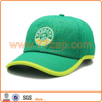 Green fabric cut out baseball cap with printing logo