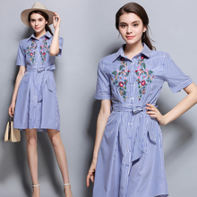 Europe 2017 summer new fashion cotton stripes embroidered professional waist short sleeve single breasted dress