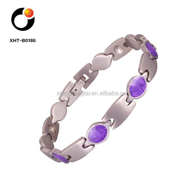 purple gemstone stainless steel bracelet with pure germanium