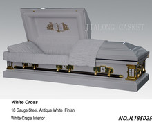 White Cross Metal Casket-American funeral coffins and caskets