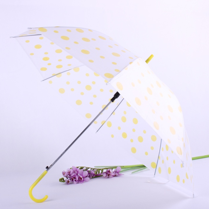 Automatic Transparent Clear Umbrella with Various Color Wave Point Printing