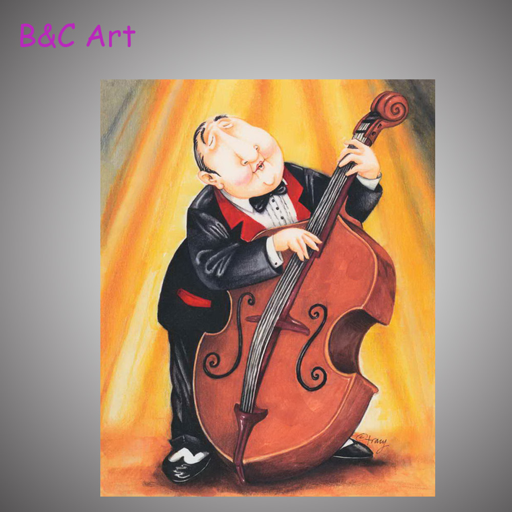 High quality pure hand-painted abstract oil painting cello figures