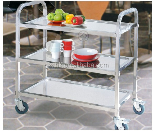 New 3 tier stainless steel kitchen dining trolley/hotel serving utility cart