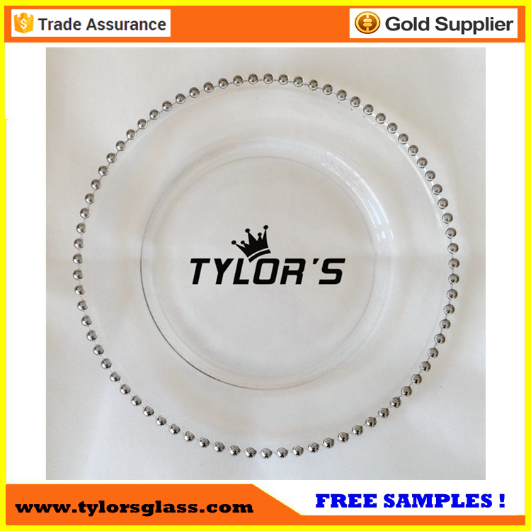 Cheap Best Seller Silver Beaded Glass Charger Plates For Weddings