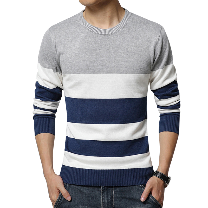 Sweater male the new men's cultivate one's morality round collar stripe color leisure men's clothing sweaters M-5XL