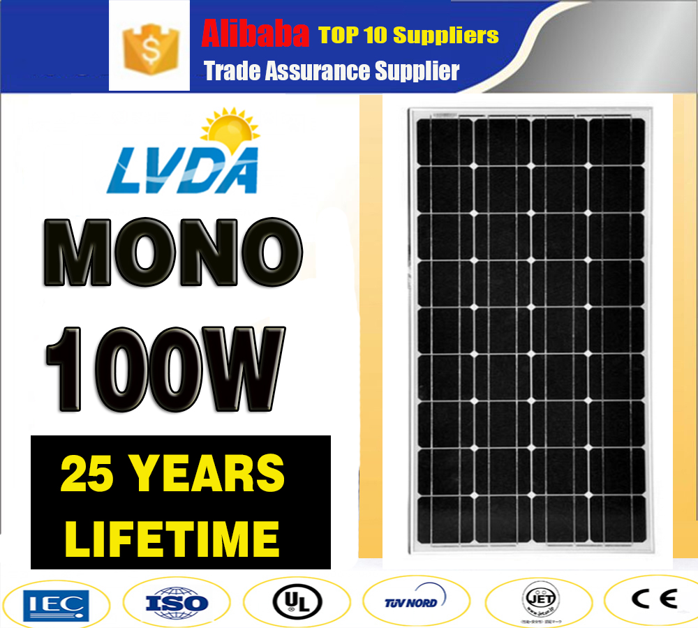 China Manufacturer mono monocrystalline solar panel 100w