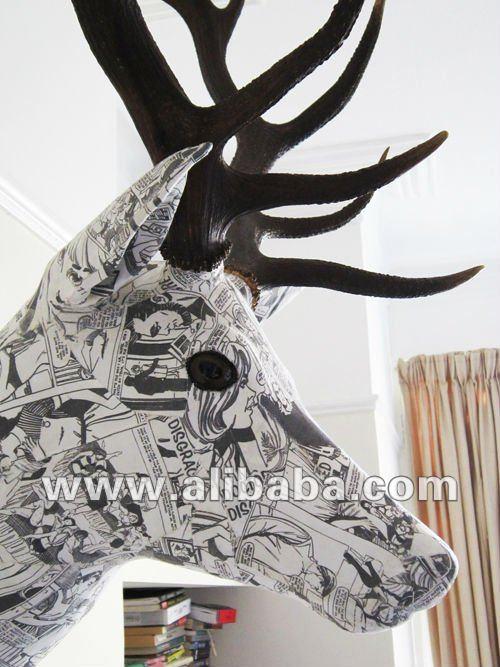 Cabeza de ciervo original tapizado en tela de lujo for Decoracion hogar original