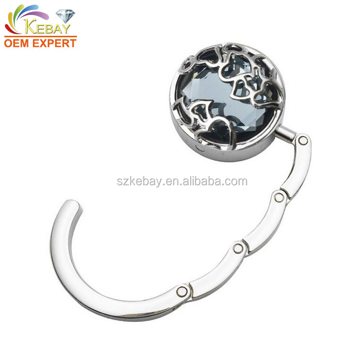 Restaurant Custom Table Hook Hanger Round Metal Folding Handbag Holder Custom Logo Purse Hanger