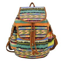 16 inch Canvas floarl chervon stripe school rucksack, cotton flower sublimation printed Campus mochila bolso back pack backpack