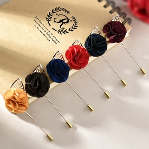 Wholesale Fashion Custom Fabric Rose Flower Brooch Men's Lapel Pins