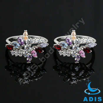Fashion Brass Jewelry Engagement Rings With Colorful Zircon