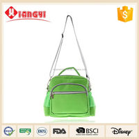 Nice price green Rectangle shape canvas messenger bag leather