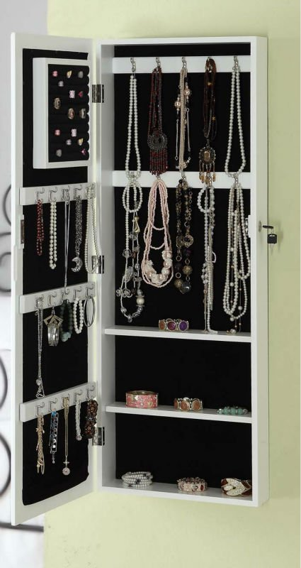 2015 very popular wall mounted mirror jewelry cabinet
